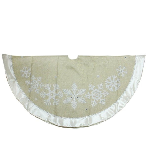 "Linen Christmas Tree Skirt: Shop 48"" Metallic Gold And Silver Snowflake With Satin"