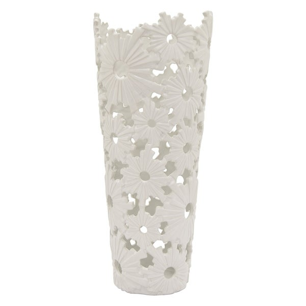 "19 "" Porcelain-Ceramic Three Hands Ceramic Vase Finished in White"