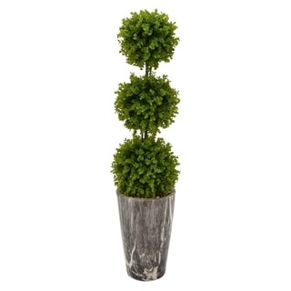"""40 """" Porcelain-Ceramic Three Hands Faux Topiary Pot Finished in Green"""