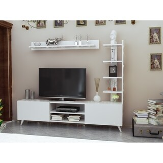 """Decorotika Viona 63"""" TV stand & Entertainment Center With a Pier and Accent Wall shelf"""