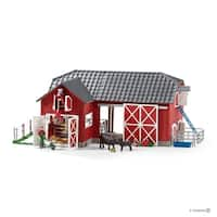 Schleich Farm World, Large Red Barn and with Animals and Accessories Toy Figure