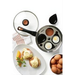 """Farberware Glide Copper Ceramic Nonstick 8"""" Covered Egg Poacher, Black"""