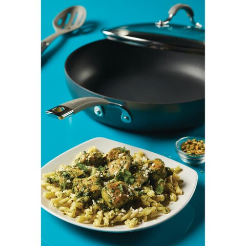 """Circulon Radiance Hard-Anodized Nonstick 12"""" Covered Deep Skillet,Gray"""