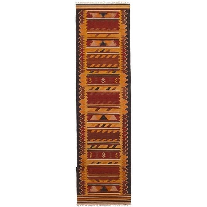 ECARPETGALLERY Flat-weave Kashkoli FW Burnt Orange, Dark Red Wool Kilim - 211 x 131 (Orange/Red - 211 x 131)