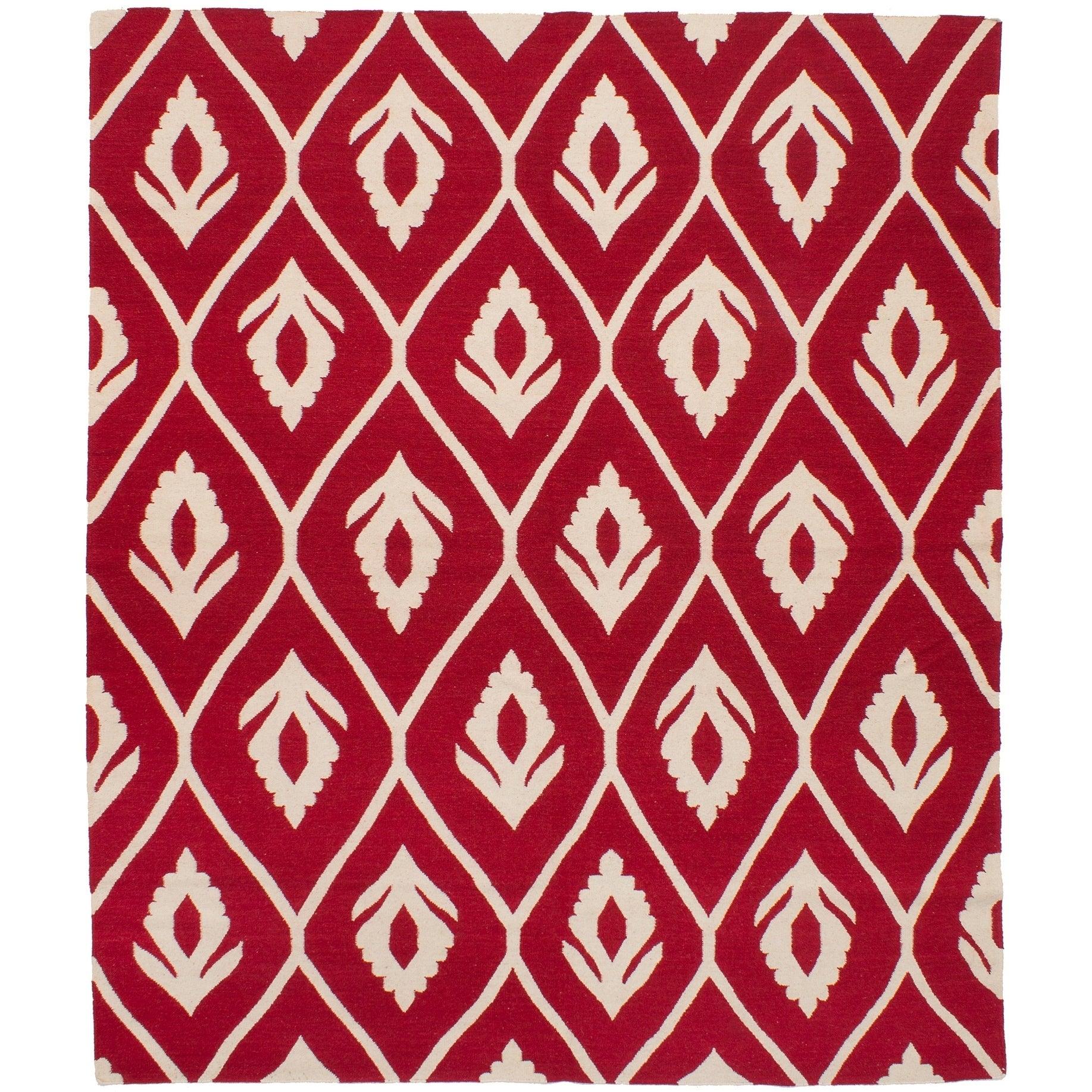 ECARPETGALLERY Flat-weave Ankara FW Red Wool Kilim - 82 x 911 (RED - 82 x 911)