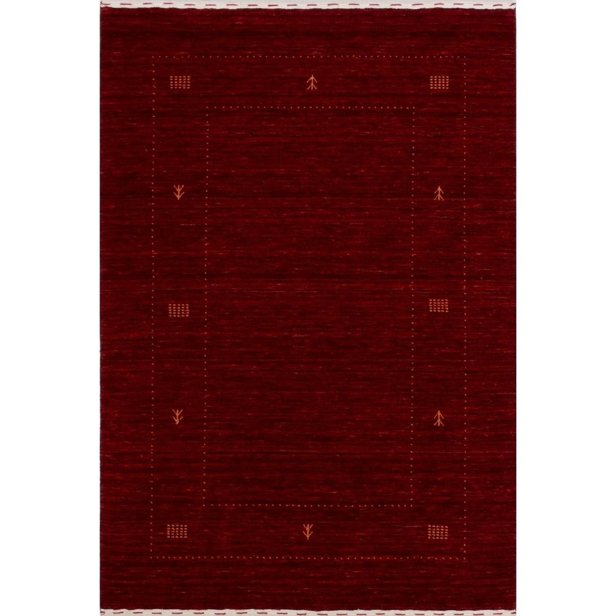 ECARPETGALLERY Hand-knotted Luribaft Gabbeh Riz Dark Red Wool Rug - 40 x 60 (Red - 40 x 60)