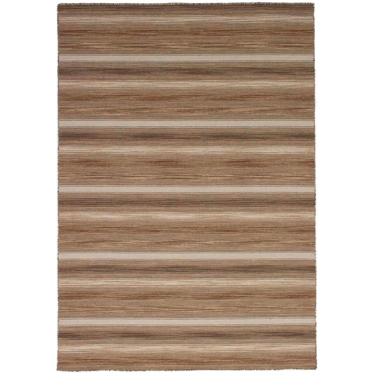 ECARPETGALLERY Flat-weave Manhattan Tan Wool Kilim - 53 x 76 (TAN - 53 x 76)