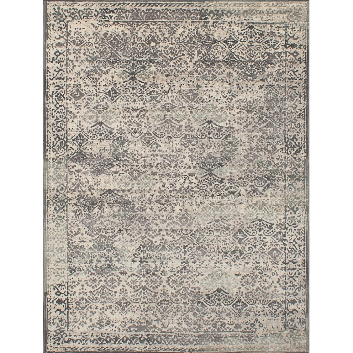 ECARPETGALLERY Power Loomed Antique Dark Grey, Ivory Polypropylene Rug - 53 x 71