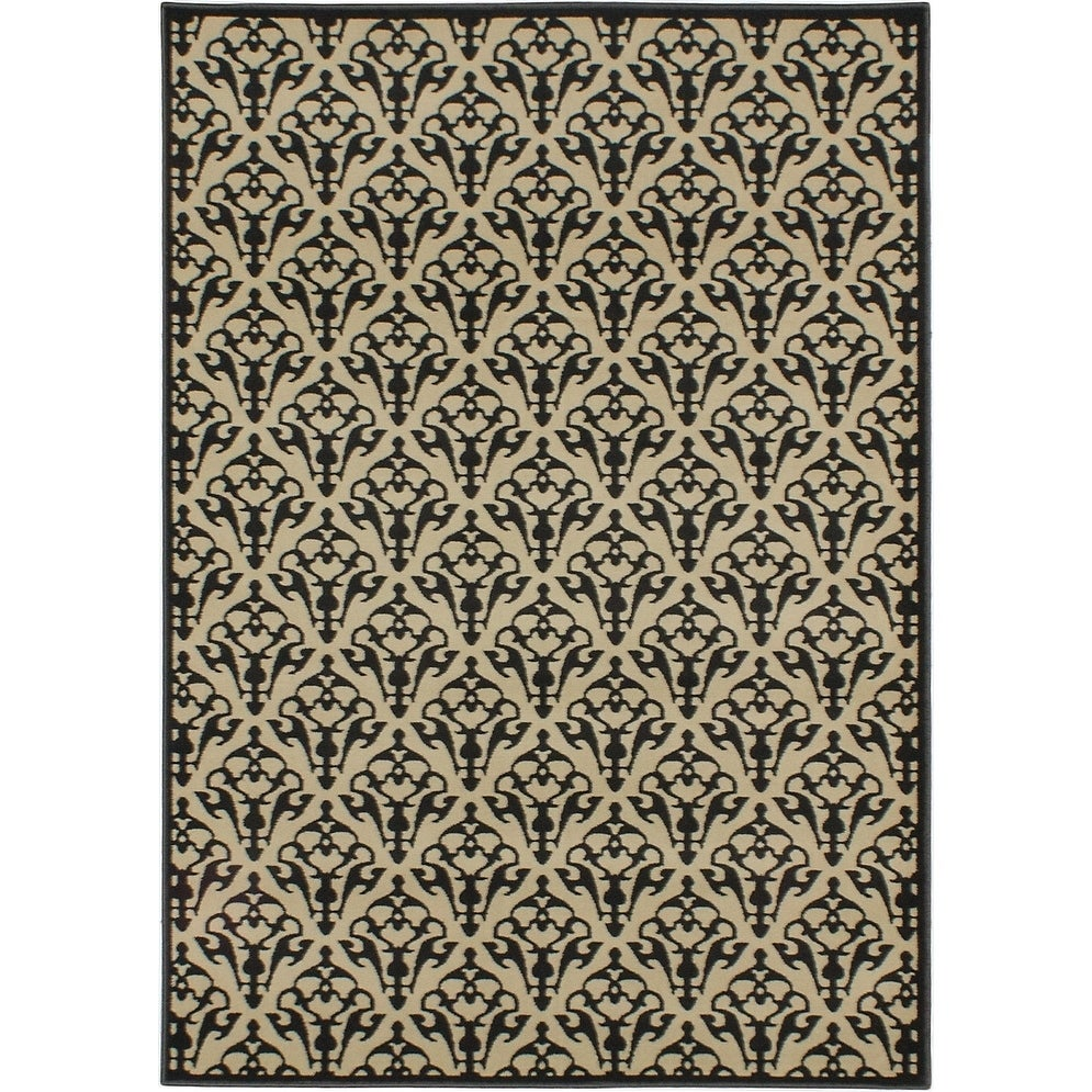 ECARPETGALLERY Machine Woven Luxus Cream, Dark Grey Polypropylene Rug - 53 x 74