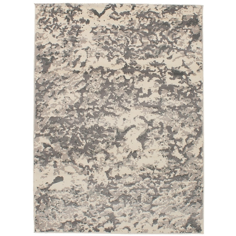ECARPETGALLERY Power Loomed Antique Cream, Dark Grey Polypropylene Rug - 53 x 72