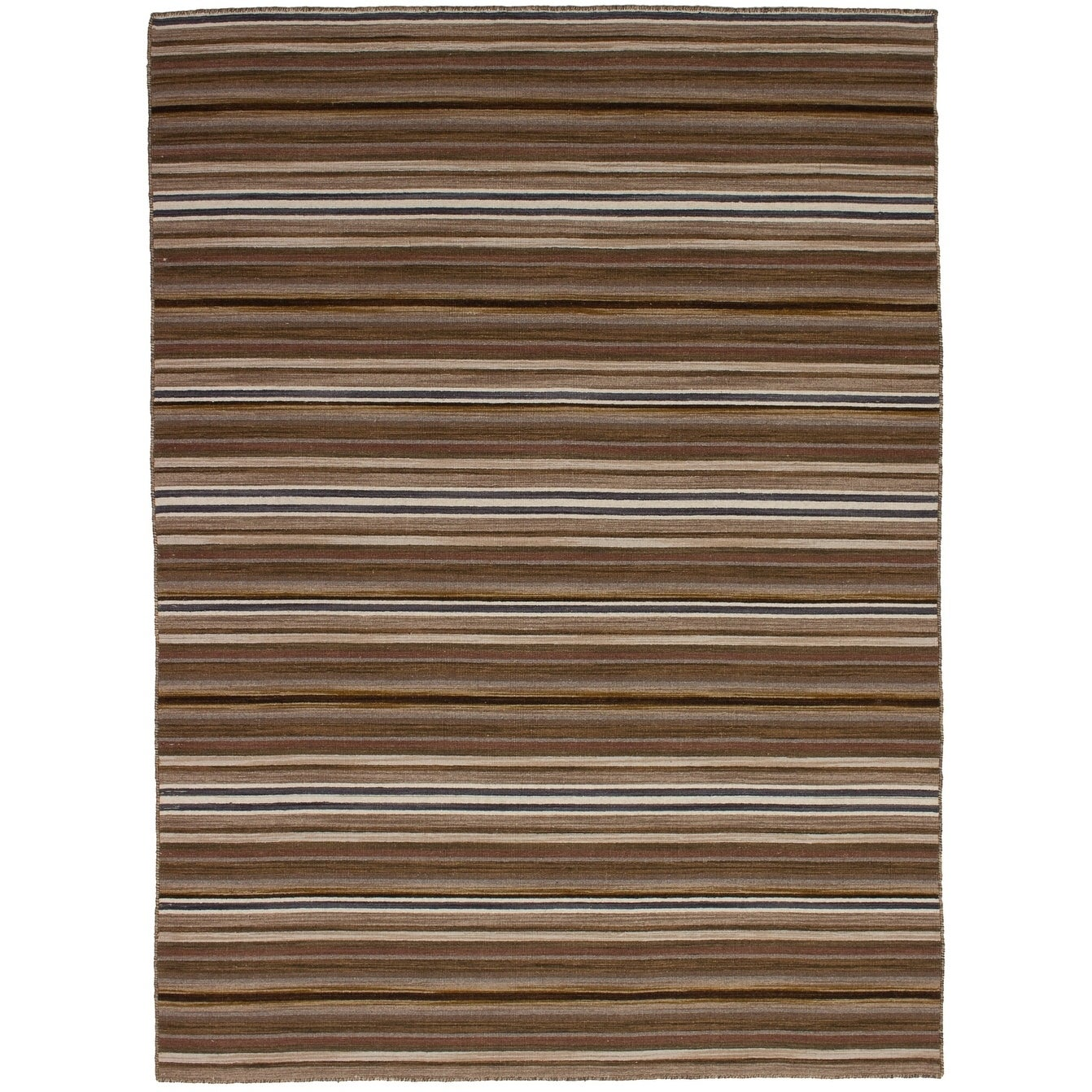 eCarpetGallery  Flat-weave Manhattan Brown Wool Kilim - 53 x 710 (Brown - 53 x 710)