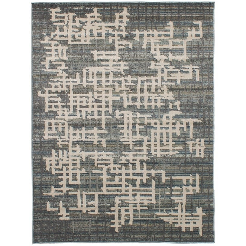 ECARPETGALLERY Power Loomed Antique Grey, Ivory Polypropylene Rug - 53 x 71 (53 x 71 - Grey/Ivory)
