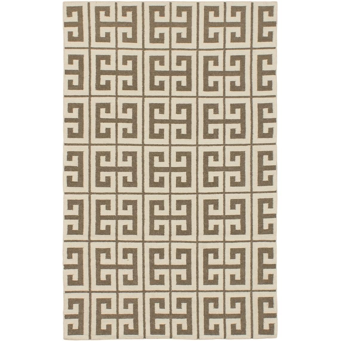 ECARPETGALLERY Hand Woven Kerala Beige, Cream Wool Kilim - 50 x 80 (Beige/Cream - 50 x 80)