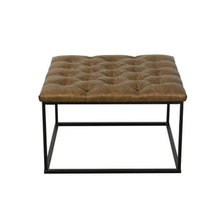 HomePop Draper Ottoman with Button Tufting - Light Brown Faux Leather