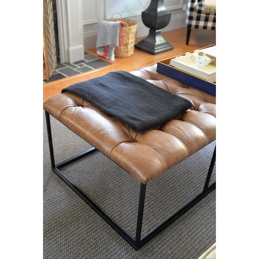 Fantastic Homepop Draper 58 Large Ottoman With Button Tufting Light Brown Faux Leather Evergreenethics Interior Chair Design Evergreenethicsorg