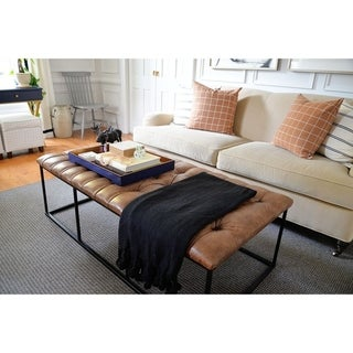 """HomePop Draper 58"""" Large Ottoman with Button Tufting - Light Brown Faux Leather"""