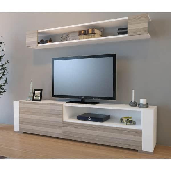 Decorotika Arya 71 Tv Stand And Entertainment Center With Decorative Wall Shelf