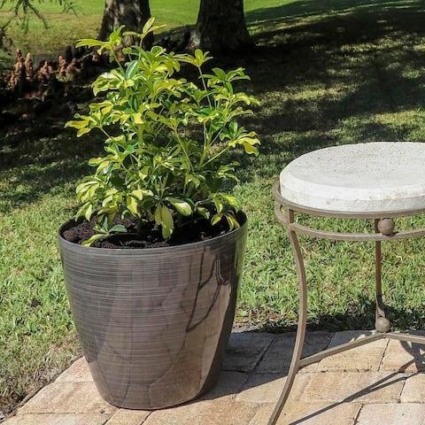 Clover 2 Piece Round Planter Set - Brown