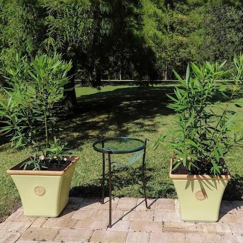 Azalea 2 Piece Square Planter Set - Yellow/Terracotta