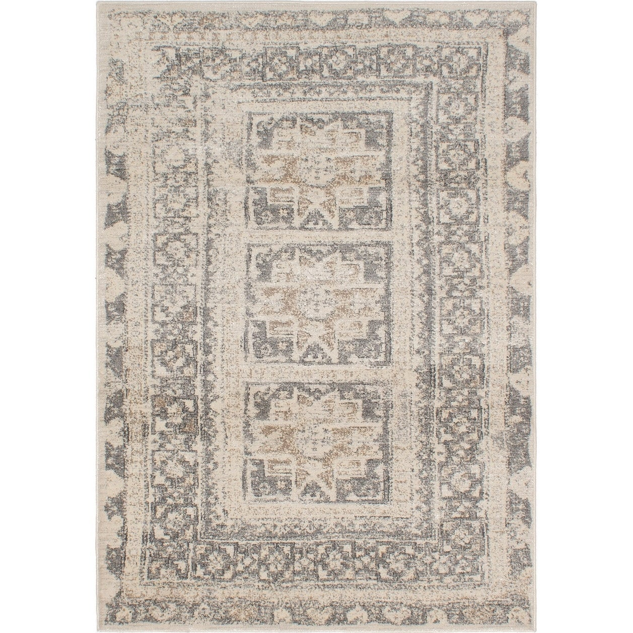 ECARPETGALLERY Machine Woven Tribal Cream, Dark Grey Polypropylene Rug - 710 X 102
