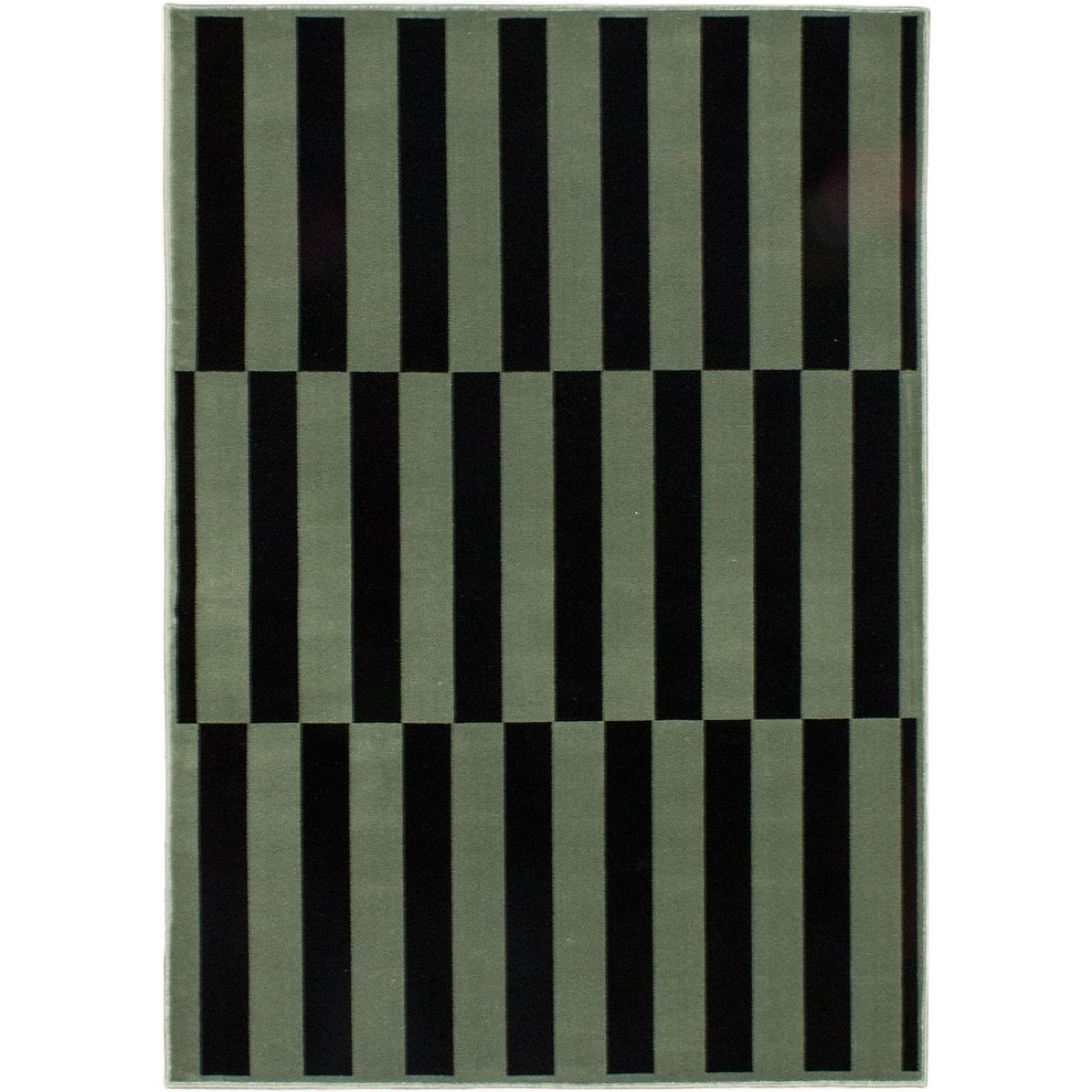 ECARPETGALLERY Machine Woven Tree Black, Olive Green Polypropylene Rug - 53 x 74 (53 x 74 - Black/Green)