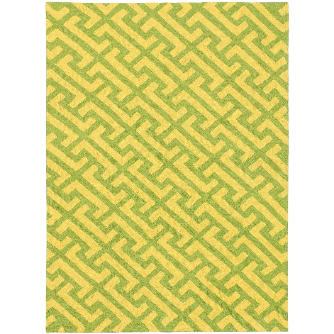 ECARPETGALLERY Hooked Erman Emerald Green, Yellow Polypropylene Rug - 50 x 70 (Green/Yellow - 50 x 70)