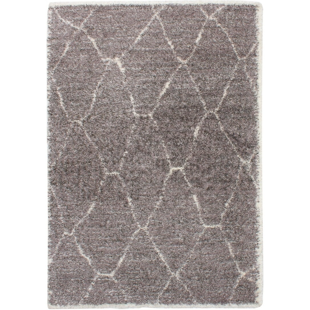 ECARPETGALLERY Power Loomed Soho Dark Grey Polypropylene Shag - 67 x 96