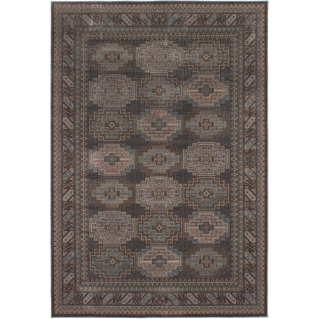 ECARPETGALLERY Power Loomed Hermes Dark Grey Polypropylene Rug - 66 x 97 (66 x 97 - Grey)
