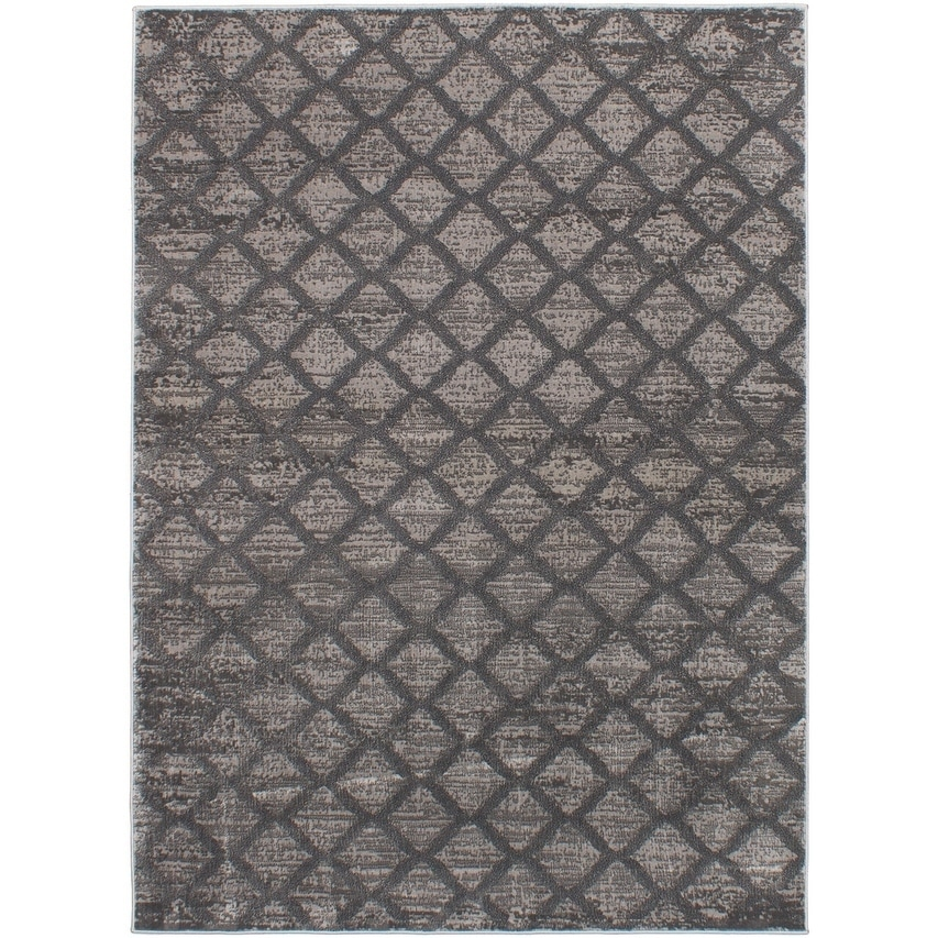ECARPETGALLERY Machine Woven Madiba Dark Grey Polypropylene Rug - 53 X 73 (53 X 73 - Grey)