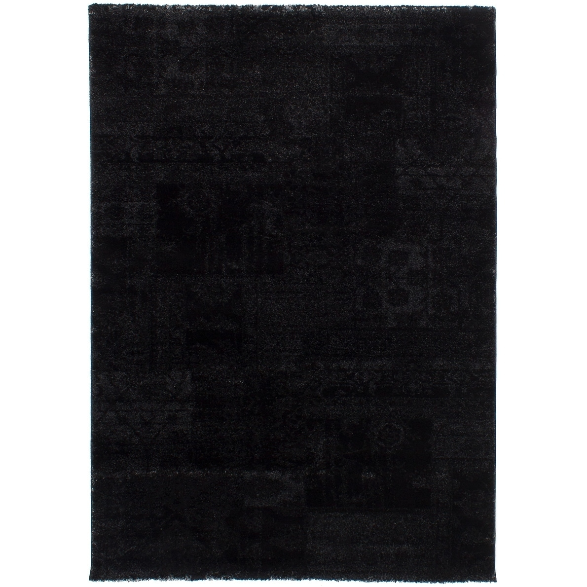 ECARPETGALLERY Power Loomed Soho Black Polypropylene Shag - 55 x 79