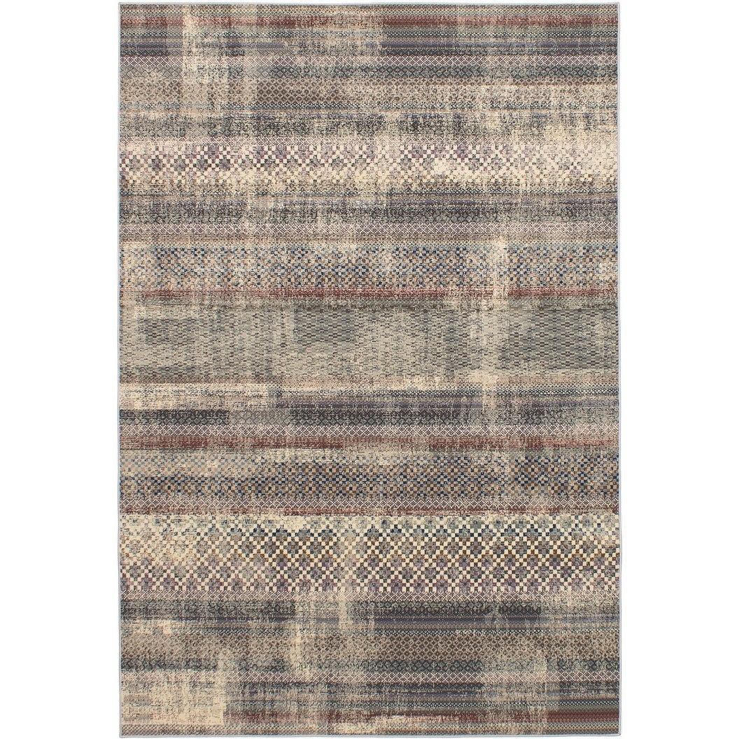 ECARPETGALLERY Power Loomed Hermes Dark Grey, Ivory Polypropylene Rug - 66 x 96