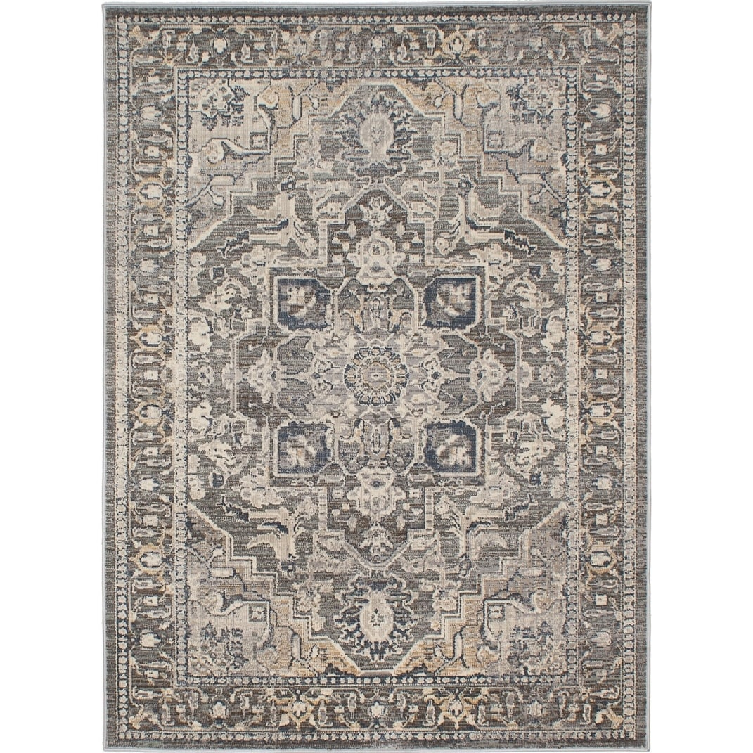 ECARPETGALLERY Machine Woven Persia Cream, Grey Polypropylene Rug - 53 x 72 (53 x 72 - Cream/Grey)