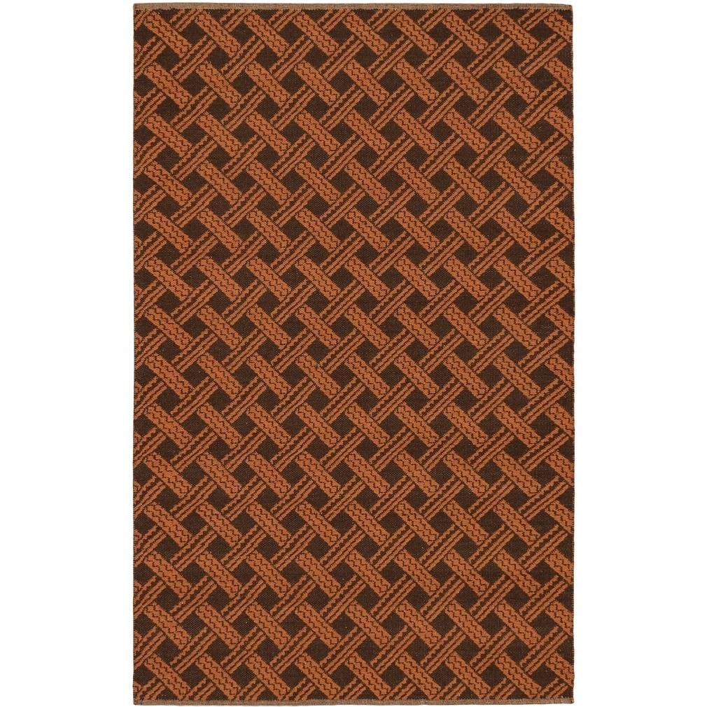 ECARPETGALLERY Hand Woven Viva Copper, Dark Brown Wool Kilim - 50 x 80 (Brown/Rust - 50 x 80)