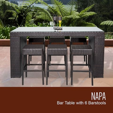 Barbados Bar Table Set Backless Barstools 7 Piece Outdoor Furniture