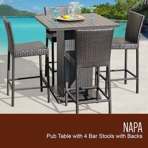 Barbados Pub Table Set w/ Barstools 5 Piece Outdoor Patio Furniture