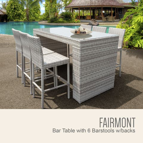 Fairmont Bar Table Set w/ Barstools 7 Piece Outdoor Patio Furniture