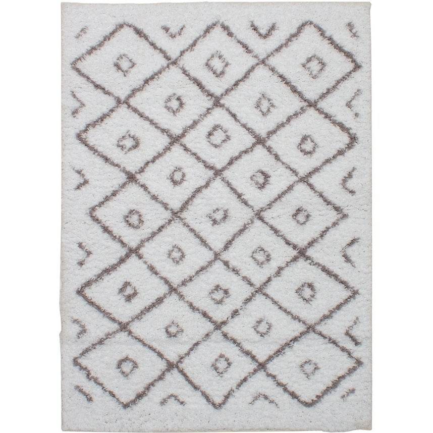 ECARPETGALLERY Power Loomed Polar White Microfiber Shag - 52 x 73