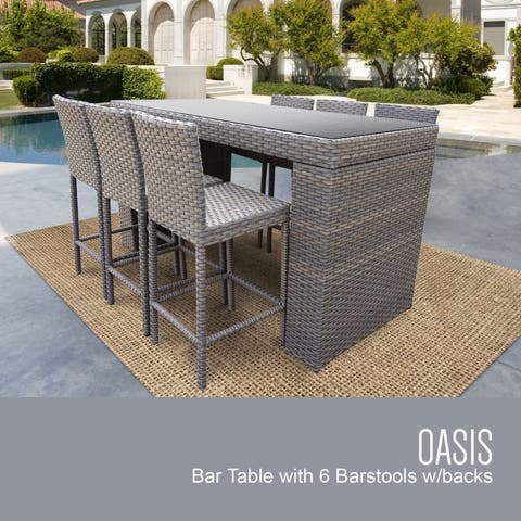 Florence Bar Table Set w/ Barstools 7 Piece Outdoor Patio Furniture