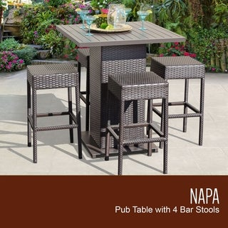 Barbados Pub Table Set w/ Backless Barstools 5 Piece Outdoor Furniture