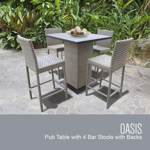 Florence Pub Table Set w/ Barstools 5 Piece Outdoor Patio Furniture