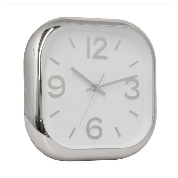 "12 "" Polyurethane Three Hands Wall Clock Finished in Silver"
