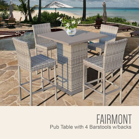 Fairmont Pub Table Set w/ Barstools 5 Piece Outdoor Patio Furniture