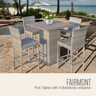 Fairmont Pub Table Set w/ Barstools 5 Piece Outdoor Patio Furniture