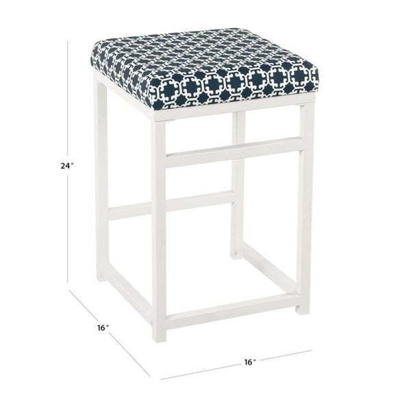 """HomePop Open Back Metal 24"""" Counter Stool - Indigo and White Lattice - 24 inches - 24 inches"""