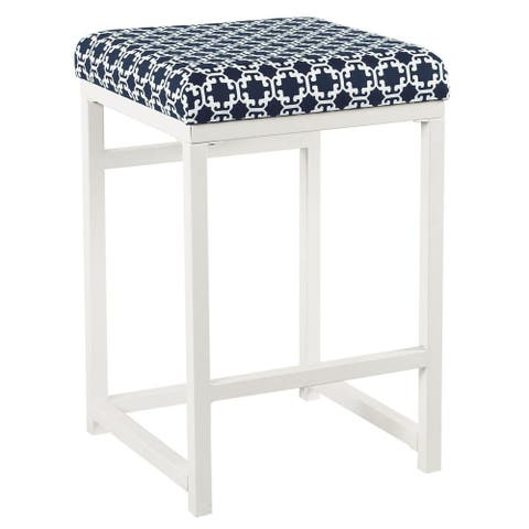 """HomePop Open Back Metal 24"""" Counter Stool - Indigo and White Lattice - 24 inches"""