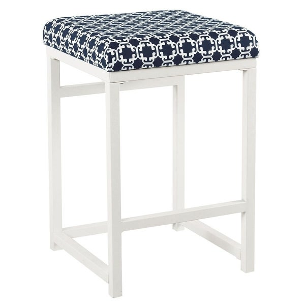 """HomePop Open Back Metal 24"""" Counter Stool - Indigo and White Lattice - 24 inches - 24 inches. Opens flyout."""