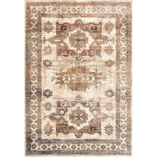 Copper Grove Visoko Vintage Faded Emblems Area Rug (Light Brown - 5 3 x 7 7)