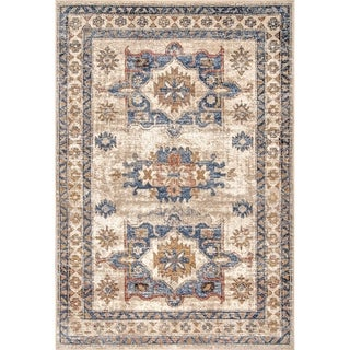 Copper Grove Visoko Vintage Faded Emblems Area Rug (Beige - 7 10 x 10 10)