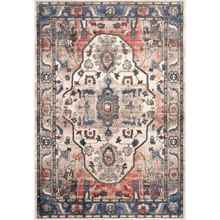 Copper Grove Prijedor Vintage Faded Medallion Area Rug