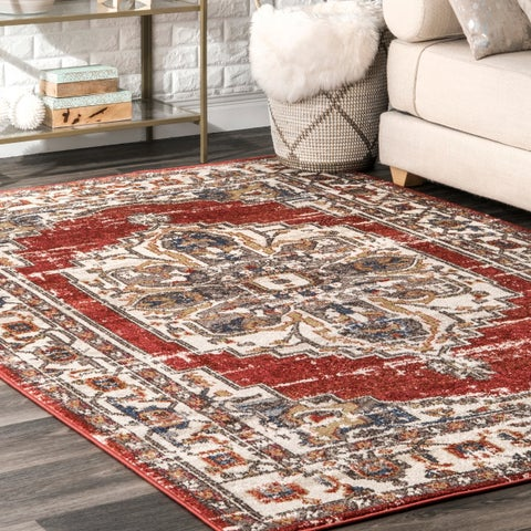 Porch & Den Topanga Faded Blossom Medallion Border Area Rug